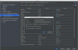 PyCharm Project Interpreter Dialog - create new virtual environment sub dialog