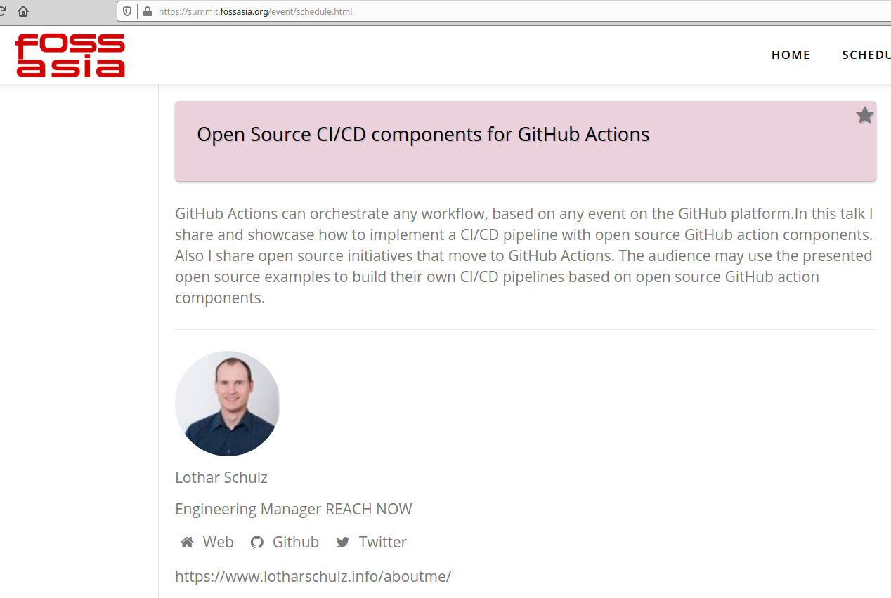 Open Source CI/CD components for GitHub Actions  presentation schedule, Singapore March 2020