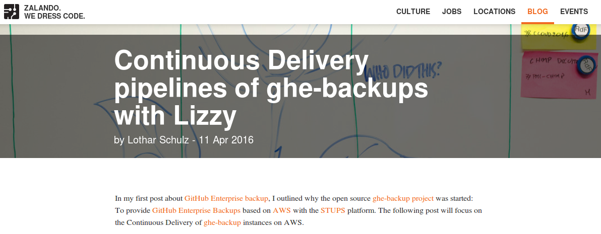 Continuous Delivery pipelines of ghe-backups with Lizzy