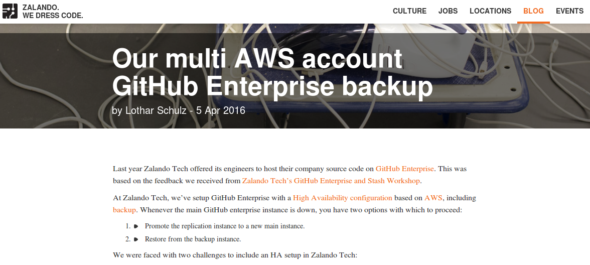 zalando tech blog multi AWS Github Enterprise Backup